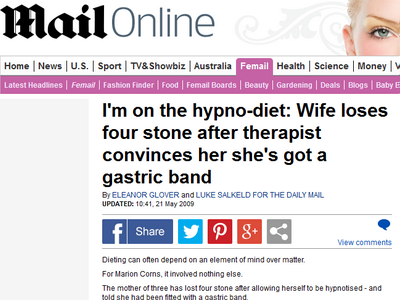 4 stone weight loss with gastric band hypnosis